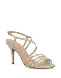 Carmen Marc Valvo Gracie Embossed Leather Sandals Gold