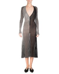 Proenza Schouler Metallic Knit V Neck Midi Dress Silver