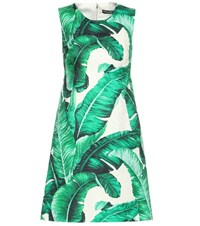 Dolce And Gabbana Printed Cotton And Silk Jacquard Shift Dress Green