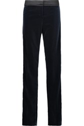 Tom Ford Satin Trimmed Velvet Slim Leg Pants Midnight Blue