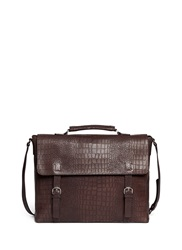 Giorgio Armani Croc Embossed Leather Messenger Briefcase Brown Animal Print