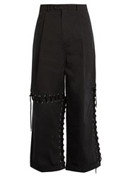 Craig Green Laced Seam Wide Leg Cotton Trousers Black