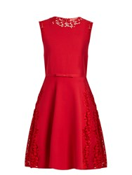 Giambattista Valli Lace Insert Sleeveless Mini Dress Red