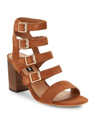 Design Lab Lord And Taylor Strappy High Heel Suede Sandals Cognac