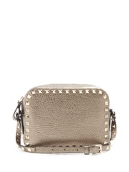 Valentino Rockstud Leather Camera Cross Body Bag Silver Grey