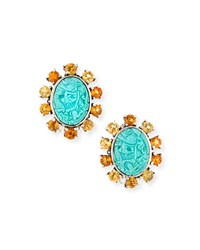 Carved Turquoise Clip On Earrings Stephen Dweck Turquoise Blue