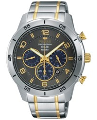 Pulsar Men's Solar Chronograph On The Go Two Tone Stainless Steel Bracelet Watch 44Mm Px5057
