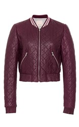 Rebecca Taylor Quilted Leather Jacket Burgundy