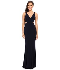 Faviana Jersey V Neck Side Out 7541 Navy Women's Dress