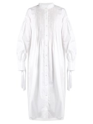 Teija Cuff Tie Smocked Stretch Cotton Shirtdress White