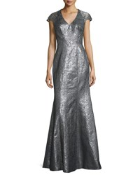 Theia Cap Sleeve Metallic High Slit Gown Silver