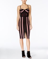 Material Girl Juniors' Striped Bodycon Dress Only At Macy's Caviar Black Combo