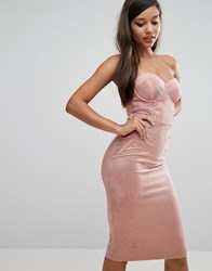 Rare Sweetheart Pencil Dress With Corset Detail Pink