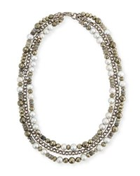 Hipchik Brie Three Strand Beaded Necklace Gray