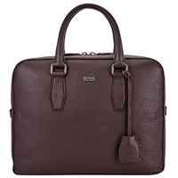 Boss Logo Boss Malton Leather Briefcase Burgundy