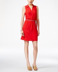 G.H. Bass And Co. Belted Shirtdress Tomato
