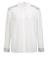 Planet Lace Insert Blouse Neutral