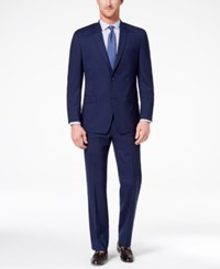 Marc New York By Andrew Men's Classic Fit Stretch Dark Blue Plaid Suit