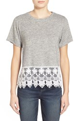 Artee Couture Crochet Hem Tee Heather Grey