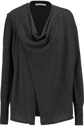 Autumn Cashmere Pepper Wrap Effect Draped Cashmere Cardigan Gray