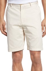Peter Millar Men's 'Winston' Washed Twill Flat Front Shorts Stone Grey
