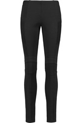 Balmain Ribbed Trimmed Stretch Knit Skinny Pants Black