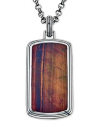 Esquire Men's Jewelry Red Tiger's Eye 34 X 28Mm Dog Tag Pendant Necklace In Sterling Silver Only At Macy's