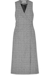 Ganni Prince Of Wales Checked Twill Wrap Dress Gray