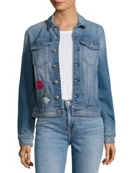 7 For All Mankind Trucker Embroidered Denim Jacket Embroidered Flowers