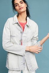 Amo Distressed Stripe Jacket Blue Motif