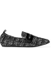Lanvin Patent Leather Trimmed Tweed Slippers Black