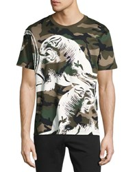 Valentino Camouflage Panther T Shirt Green Green Pattern