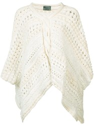 Maiyet Loose Knit Poncho Women Cotton Linen Flax Polyester One Size White