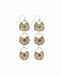 Nakamol Crystal Triple Drop Statement Earrings Multi