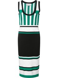 Prabal Gurung Striped Knit Dress Green