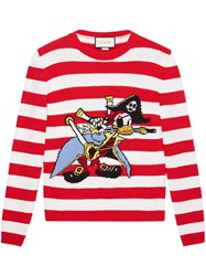 Gucci Intarsia Wool Sweater With Donald Duck Pirate Men Wool Xs Red