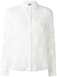 Sonia Rykiel By Clouds Motif Sheer Shirt White