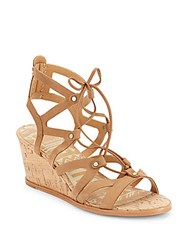 Dolce Vita Open Toe Ankle Tie Cage Sandals Saddle