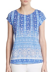 Saks Fifth Avenue Blue Batik Floral Print Tee Blue Multi