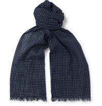 Anderson And Sheppard Polka Dot Cotton Scarf Navy