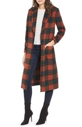 Leith Single Button Plaid Coat Brown Spice Leith Plaid