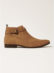 Topman Brown Tan Faux Suede Fisco Buckle Boots