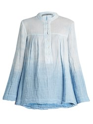 Raquel Allegra Round Neck Cotton Gauze Blouse Light Blue