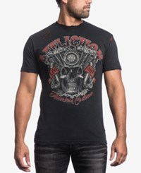 Affliction Men's Overheat Graphic Print T Shirt Black Lava Wash