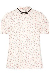 Miu Miu Bow Embellished Floral Print Silk Blouse Ivory