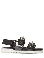 Valentino 20Mm Rockstud Rubber Leather Sandals Black