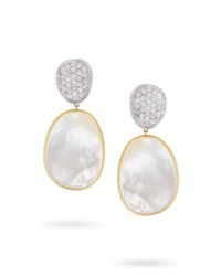 Marco Bicego Lunaria Mother Of Pearl Drop Earrings With Diamonds 1.06 Tdcw