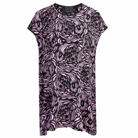 Louise Coleman Voodoo Skull Silk Tunic Dress Black Pink Purple