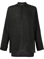 Isabel Benenato Band Collar Shirt Black
