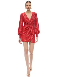 Amen Sequined Mini Dress Red